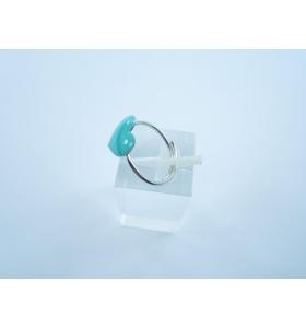 Anello regolabile argento 925 rodiato cuore rosa smaltato di 11 x 10 mm italy
