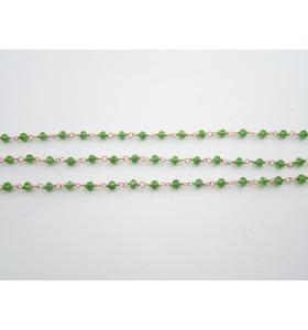 '1 metro catenina rosario color rosè concatenata cristalli verde chiaro 3,5 mm
