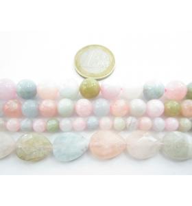 1 filo di Morganite Berillo multicolor goccia sfaccettata di 16x12 mm