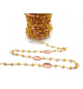 50 cm catena rosario cristalli giallo e ovali ottone ramato