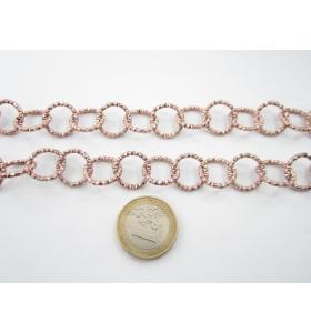 50 cm di catena in alluminio tondi zigrinati ramati diametro 15 mm maglia aperta