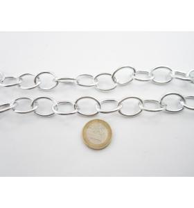 50 cm di catena in alluminio ovali argentati 24x 18 mm maglia aperta
