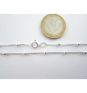 lotto 5 pz catenina argento 925 veneziana con pallini di 3 mm lunga 55 cm italy