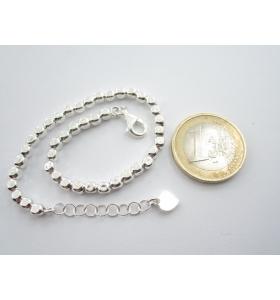 1 bracciale cubetti piccoli argento 925 lungo 17,5 cm con prolunga fino a 20,5 cm