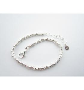 1 bracciale tubini lavorati argento 925 lungo 17 cm con prolunga fino a 20 cm