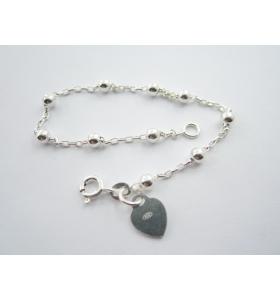 1 bracciale catena con pallini argento 925 lungo 18,5 cm