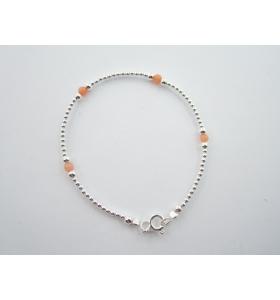 1 bracciale pallini argento 925 e pietre di lepidolite lungo 18 cm