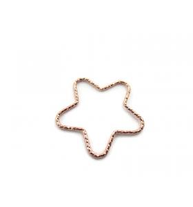 1 connettore stella martellato argento 925 placcato oro rosa diametro 23 mm