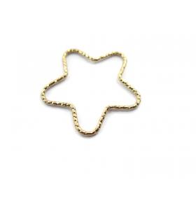 1 connettore stella martellato argento 925 placcato oro giallo diametro 23 mm