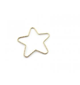 1 connettore stella martellato argento 925 placcato oro giallo diametro 32 mm