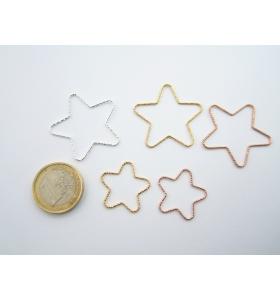 1 connettore stella martellato argento 925 placcato oro rosa diametro 32 mm
