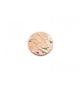 1 connettore placca tonda 2 fori martellato argento 925 brunito diametro 17 mm
