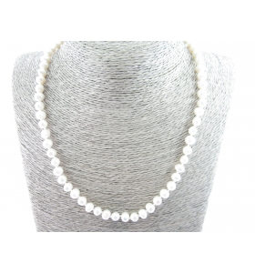 collana perle scaramazze bianche annodate coltivate in acqua dolce di 6/7 mm