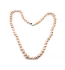 collana perle scaramazze rosa annodate coltivate in acqua dolce di 6/7 mm