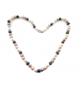collana perle scaramazze multi color annodate coltivate in acqua dolce di 6/7 mm