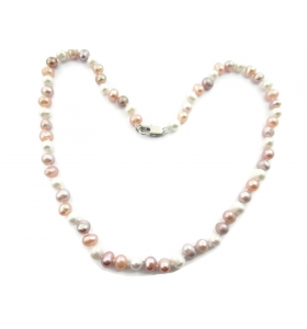 collana perle scaramazze multi color rosa annodate coltivate in acqua dolce di 6/7 mm