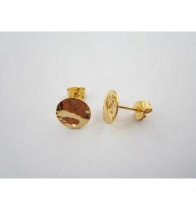 1 paio di basi per orecchini tondino 10 mm martellato e stropicciato argento 925 placcato oro rosa