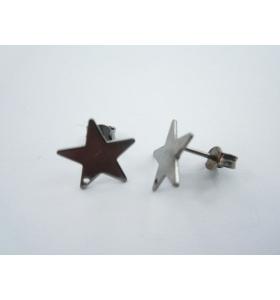 1 paio di basi per orecchini forma stella con foro in  argento 925 brunito