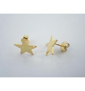 1 paio di basi per orecchini forma stella con foro in  argento 925 placcato oro rosa