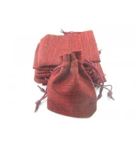 10 sacchetti in canapa (juta) naturale color cammello misure 11x9 mm