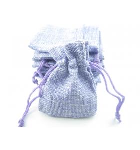 10 sacchetti in canapa (juta) naturale color lilla misure 11x9 mm