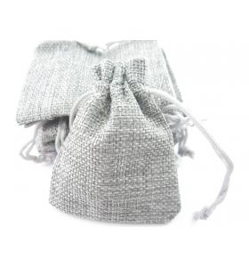 10 sacchetti in canapa (juta) naturale color grigio chiaro misure 11x9 mm