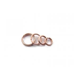 4 doppi anellini brisè argento 925 placcato oro rosa di 6 mm