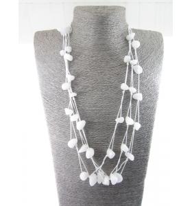 particolare collana multifilo pietre burattate agata bianca 69 cm 6 fili