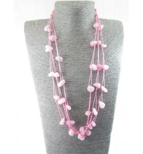 particolare collana multifilo pietre burattate agata rosa 69 cm 6 fili
