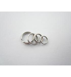 4 doppi anellini brisè 5 mm argento 925 rodiati di