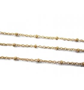 10 cm di catena argento 925 ovalini di 0,7 mm e pallini di 1,8 mm alternati ogni 1 cm