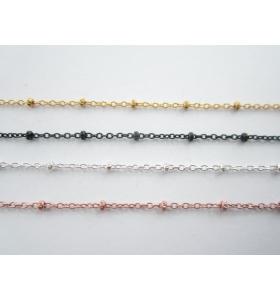 10 cm di catena argento 925 placcati oro rosa ovalini di 0,7 mm e pallini di 1,8 mm alternati ogni 1 cm