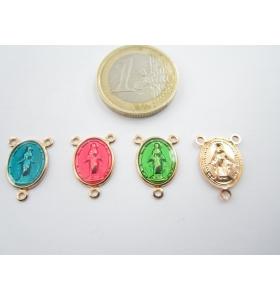 2 medagliette madonnina 3 fori per i rosari smaltate verde