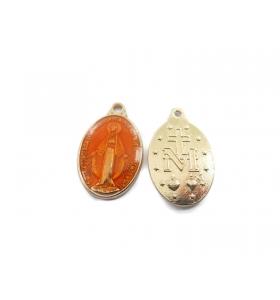 2 medagliette madonnina 1 foro per i rosari smaltate rosso