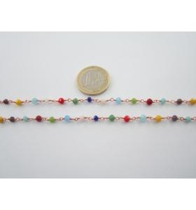20 cm catena concatenata ottone tono oro rosso cristalli mix color