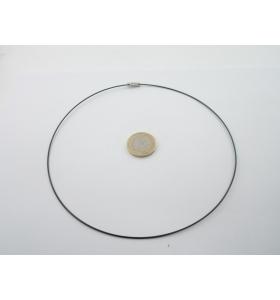 2 girocollo in cavetto acciaio nero rivestito di 1,1 mm chiusura a vite lungo 46 cm