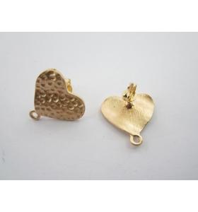 2 basi x orecchini zama cuore martellato  placcato oro giallo satinato