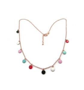 collana girocollo new fashion tondine smaltate in argento 925 placcato oro rosa