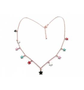 collana girocollo new fashion stelline smaltate in argento 925 placcato oro rosa