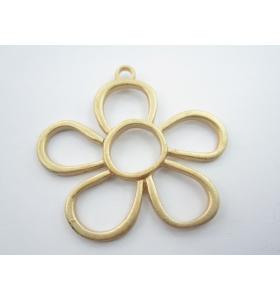 2 connettori forma margherita in zama placcato oro giallo satinato di 45 x 40 mm