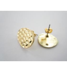 1 paio ( 2 pz ) di basi per orecchini in zama placcato oro giallo effetto satinato