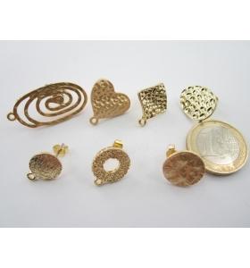 1 paio ( 2 pz ) di basi per orecchini in zama forma tonino lavorato placcato oro giallo effetto satinato