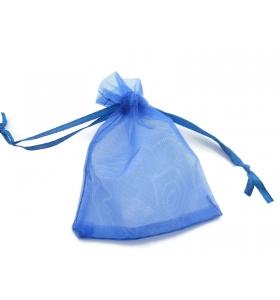 50 sacchetti in organza misure 9 x 7 mm colore blu