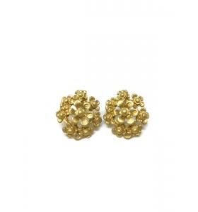 1 coppia orecchini fiore in zama placcato oro giallo satinato