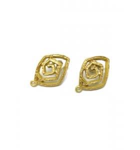 1 coppia orecchini rombo spirale zama placcato oro giallo satinato
