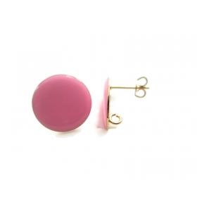 1 paio di basi orecchino smaltato rosa in alluminio rosè