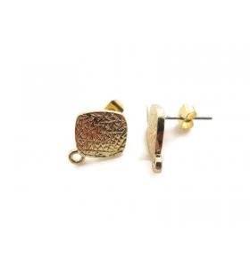 2 basi per orecchini in zama dorata rombo zigrinato 12x15 mm.