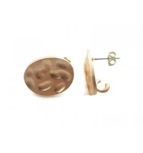 2 basi per orecchini in zama dorata ovale martellato 14x18mm