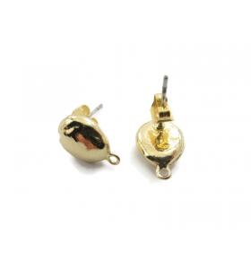 2 basi per orecchini in zama dorata lucida pepita piccola mm. 10x14