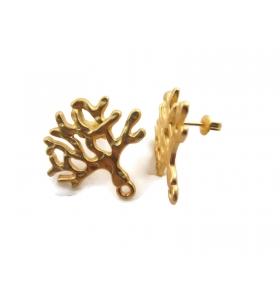 2 basi per orecchini in zama dorata satinata albero della vita 25x25 mm.